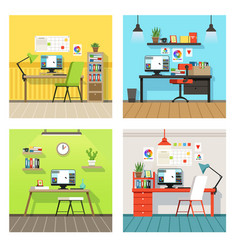 Creative work space for designers and artists with vector
