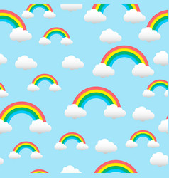 pattern with a rainbow and clouds vector image vector image