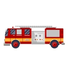 Red fire truck engine on white vector