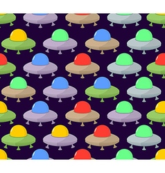 UFO seamless pattern Color space Flying Saucer vector image