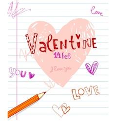 Valentines doodles vector image