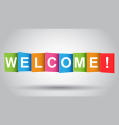 Welcome tag market message flat on grey background vector