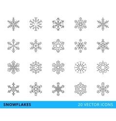 20 line snowflakes vector image