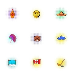 Attractions of Canada icons set pop-art style vector image vector image
