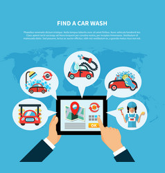 car wash finder concept vector image vector image