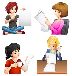Four busy females vector image