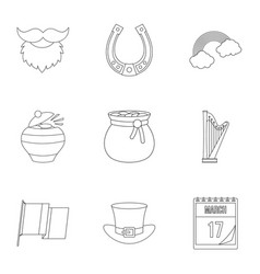 happy patrick day icon set outline style vector image vector image