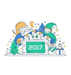 Merry Christmas and Happy New Year - line design vector image
