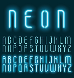 neon blue light alphabet font glowing text vector image