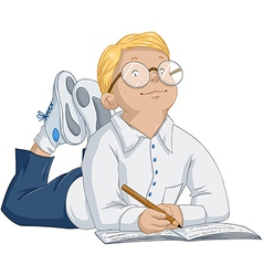 Smart Boy With Glasses Laying And Writing In vector image vector image