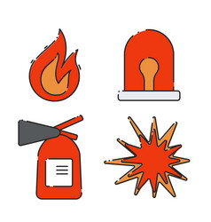 a set of flat icons on the theme of fire vector image