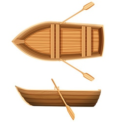 A top and side view of a boat vector image