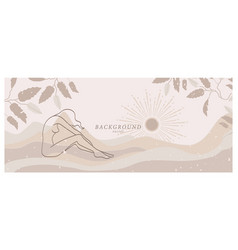Abstract background art with nude woman in nature vector