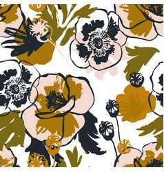 abstract poppy flower seamless pattern in golden vector image