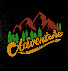 adventure hand drawn lettering with mountains and vector image