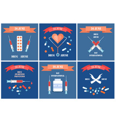 anti drug abuse international day 26 june promo vector image