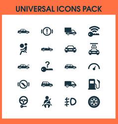 Automobile icons set with handbrake warning fuel vector