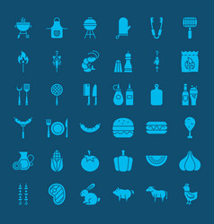 barbecue solid web icons vector image