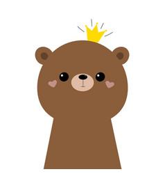 Bear grizzly face head icon cute kawaii animal vector