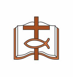 Bible cross and christian fish vector