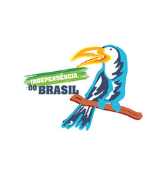 Brazil independence day with toucan vector