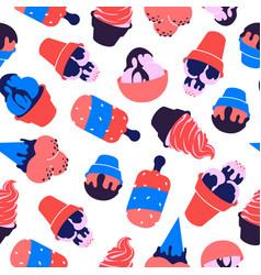 Bright ice creams vacation seamless pattern design vector