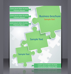 business brochure with elements of puzzles vector image