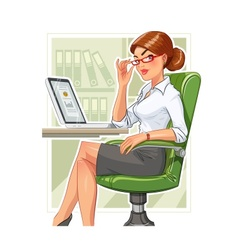 Business woman in armchair vector