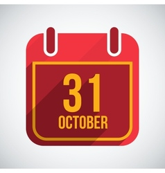 Calendar 31 october flat icon with long vector
