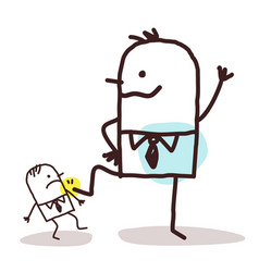 Cartoon big businessman pushing down a small one vector