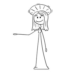 Cartoon holy woman with halo offering showing vector