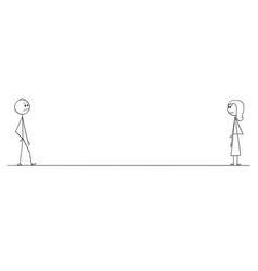 Cartoon of man and woman looking at each other vector