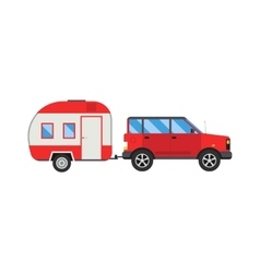 ccaravan travel car vehicle trailer house summer vector image