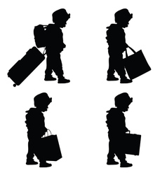 Child travel with bag set silhouette vector