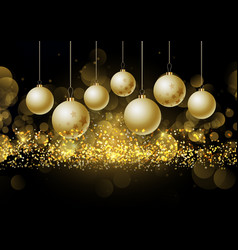 christmas baubles on glittery gold background vector image