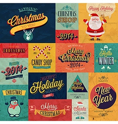 christmas set tex vector image