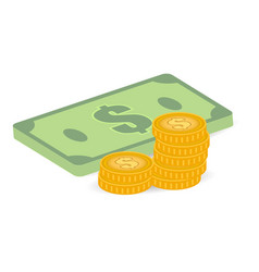 coins and bills vector image