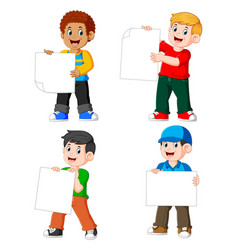 collection man holding blank paper vector image