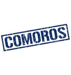 Comoros blue square stamp vector