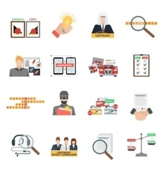 Compliance copyright law flat icons set vector