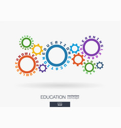 Connected cogwheels education knowledge training vector