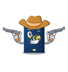 Cowboy blue passport in the cartoon form vector