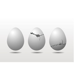 Cracked eggshell chicken eggs isolated on white vector