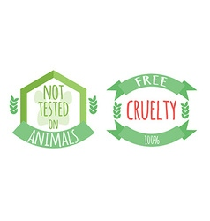 Cryelty free and not tested on animals labels or vector