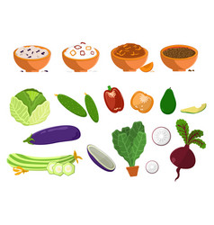 dishes and vegetables set vector image