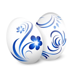 Easter White Gzhel Eggs vector