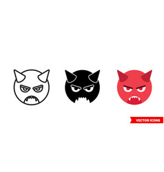 Evil icon 3 types color black and white vector