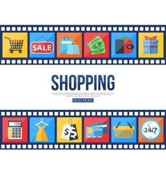 Film strips and set of sale and shopping icons for vector