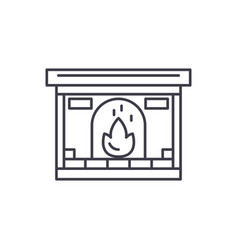 fireplace line icon concept fireplace vector image