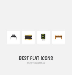 Flat icon technology set of microprocessor bobbin vector
